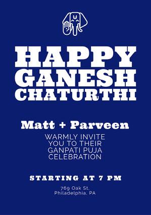 Blue and White Ganpati Invitation Ganpati Invitation