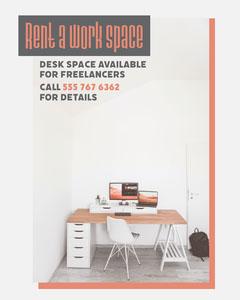 Grey & Orange Red Desk Ad Instagram Portrait For Rent Flyer