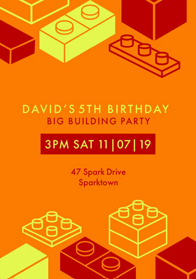 Orange Yellow and Red Boy Birthday Party Insvitation Birthday Invitation (Boy)