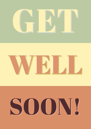 Warm Earthy Tones Typographic Get Well Soon Card God bedring-kort