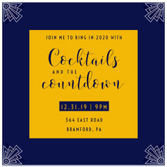 Navy Blue and Yellow New Year's Eve Party Announcement Igsquare Countdown