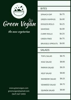 Black Vegan Restaurant Menu  Vegan