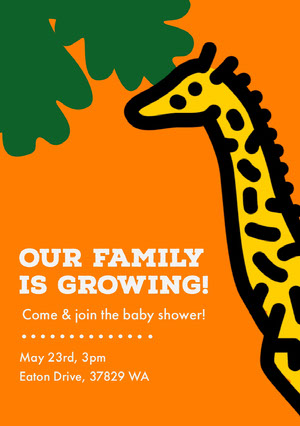 Giraffe Baby Shower Invitation  Baby Shower Thank You Card