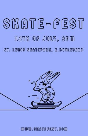 Blue Illustrated Skateboarding Event Flyer Eventplakat