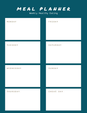 Navy Blue and White Empty Meal Planner Veckomeny