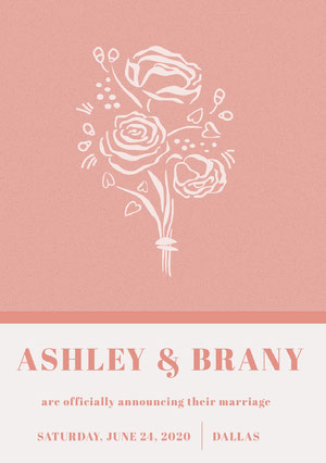 Pink Floral Wedding Announcement Card 結婚通知