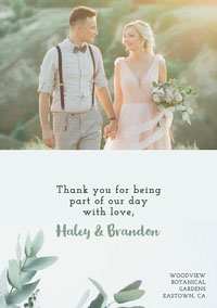 White Green Foliage Wedding Thank You Card Boda
