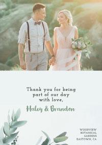 green foliage wedding thank you card Wedding