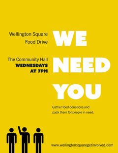 Yellow Volunteers Needed Letter  Donations Flyer