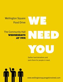 Yellow Volunteers Needed Letter  Food Flyer