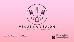 Pink Gradient Nail Salon Business Card Beauty