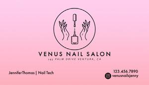 Pink Gradient Nail Salon Business Card Cartão de Visita para Salão de Beleza