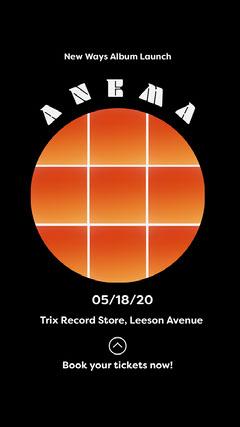 Black and Orange Circle Grid Album Release Concert Instagram Story  Launch