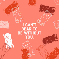 Red and White Gummy Bear Funny Valentine Pun Instagram Post Jokes