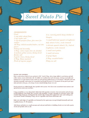 Sweet Potato Pie Recipe Card 조리법 카드