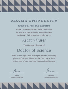 Blue and Violet Medical Studies Certificate  First Day of School