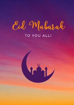 Orange and Violet Eid Mubarak Card Eid Mubarak