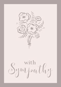 Pale Brown Elegant Floral Sympathy Card Brown