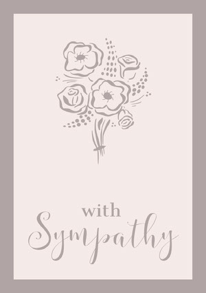 Pale Brown Elegant Floral Sympathy Card 慰問卡