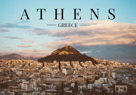 Blue Athens Postcard Cartolina
