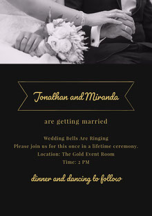 Black White and Yellow Wedding Invitation Tarjetas de agradecimiento de boda