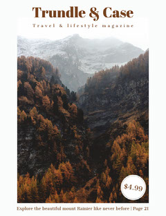 Travel and Lifestyle Magazine Cover with Mountains and Forest Forest