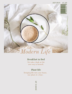 White and Beige Modern Life Magazine Cover Breakfast
