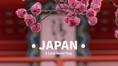 Pink Japan Travel Vlog YouTube Thumbnail with Cherry Blossom Japan