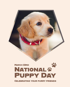 Brown National Puppy Day Instagram Portrait with Cute Dog Photo Pets