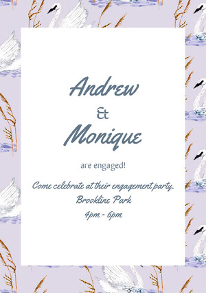 Violet and White Engagement Party Invitation Faire-part de fiançailles