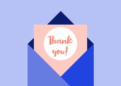 Pink and Blue Thank You Card Friends