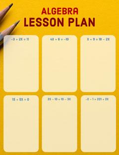 Orange Algebra Mathematics School Lesson Plan with Equations Math