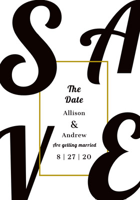 Black and Gold Typography Save the Date Wedding Card Save the date-kaart