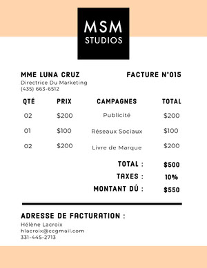 marketing invoice  Facture
