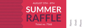 Red and White Summer Raffle Ticket Bilhete de sorteio