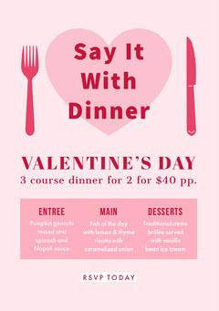 Valentine's Day Dinner Poster Fish