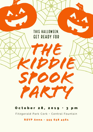 Orange and White Halloween Kid Spooky Party Invitation  Halloween Party
