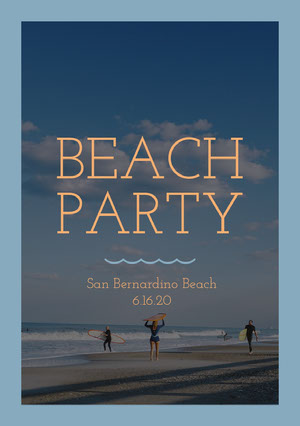 Blue and Orange Beach Party Invitation Party Invitation