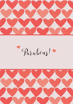 heart patterned congratulations cards  Cartão de parabéns