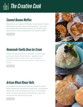 Cooking Recipe Newsletter Graphic with Gourmet Food Collage Newsletter