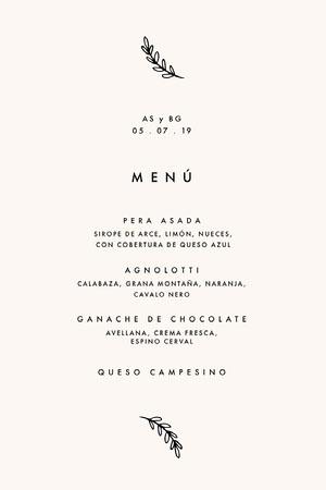 cream wedding menu  Menú