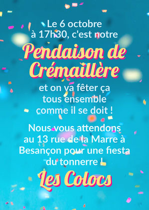 Blue Confetti Housewarming Party Invitation Card Invitation à une fête
