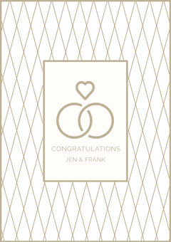 Beige Marriage Congratulations Card with Rings and Heart Couple