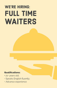 Yellow and Black We're Hiring Waiters Poster Job Poster