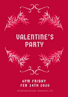 Pink Floral Frame Valentines Invitation  Invitation