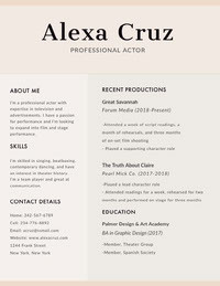 Beige Modern Actor Resume CV