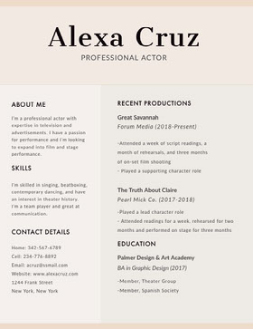 Beige Modern Actor Resume CV professionnel