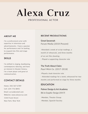 Beige Modern Actor Resume Acting Resume