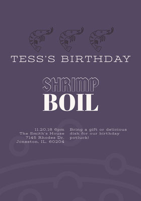 Purple Potluck Birthday Party Invitation Card Convite de aniversário