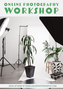 Green Potted Plant Online Photography Workshop Flyer with Studio Photo Plants